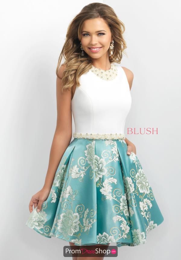 Short Beaded Blush Dress 11155
