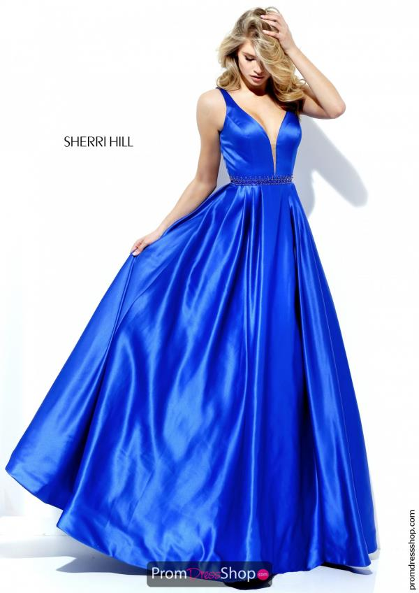 Sherri Hill V- Neckline A Line Dress 50496
