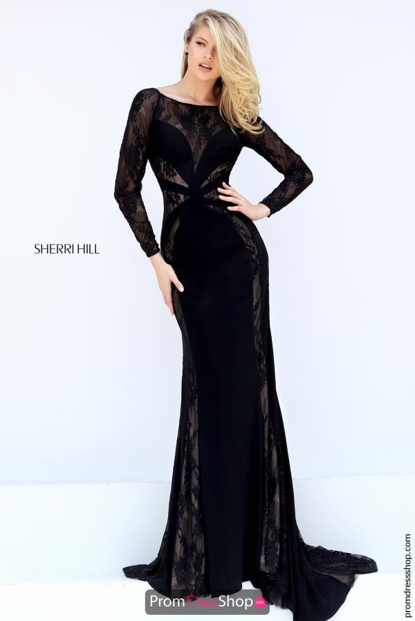 Long Sleeved Black Sherri Hill Dress 50510