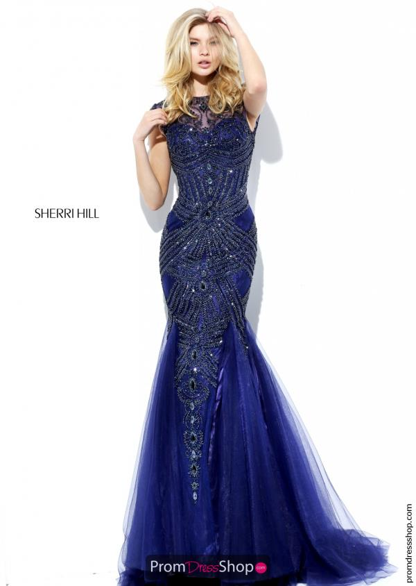 Fitted Sleeved Sherri Hill Dress 50516
