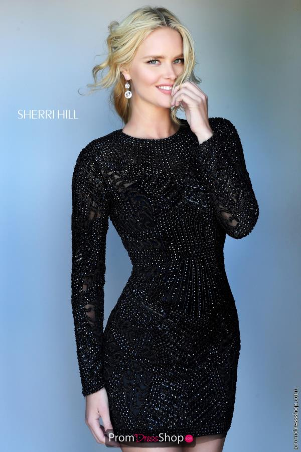 Long Sleeved Sherri Hill Short Dress 50518