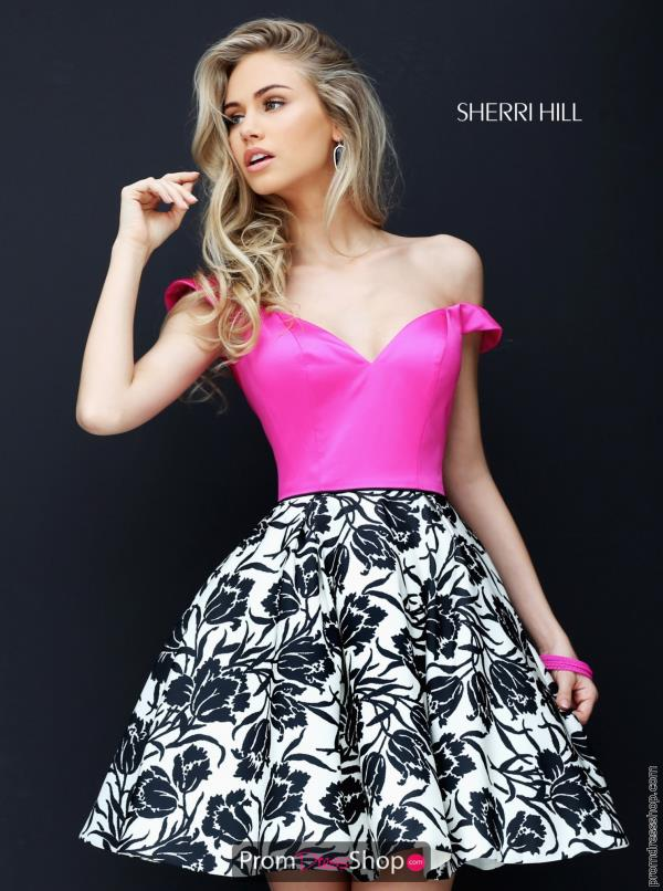 Sherri Hill Short Cap Sleeved A Line Dress 50545