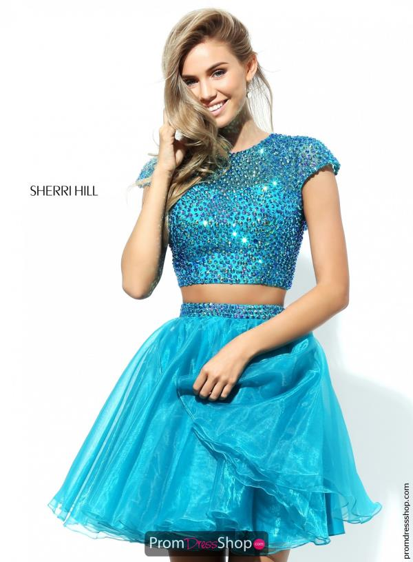 Sherri Hill Short Sleeved Beaded Dress 50560