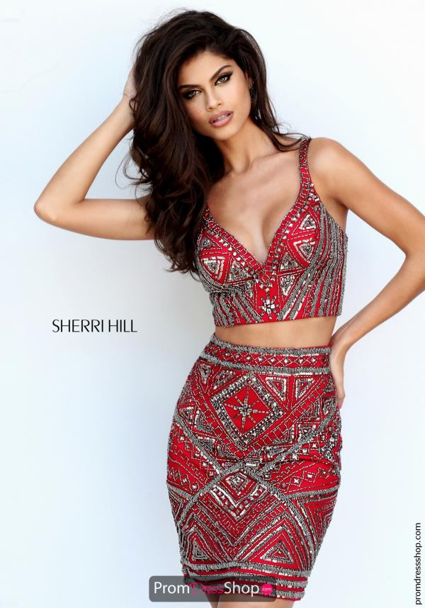 Sherri Hill Short V- Neckline Fitted Dress 50628