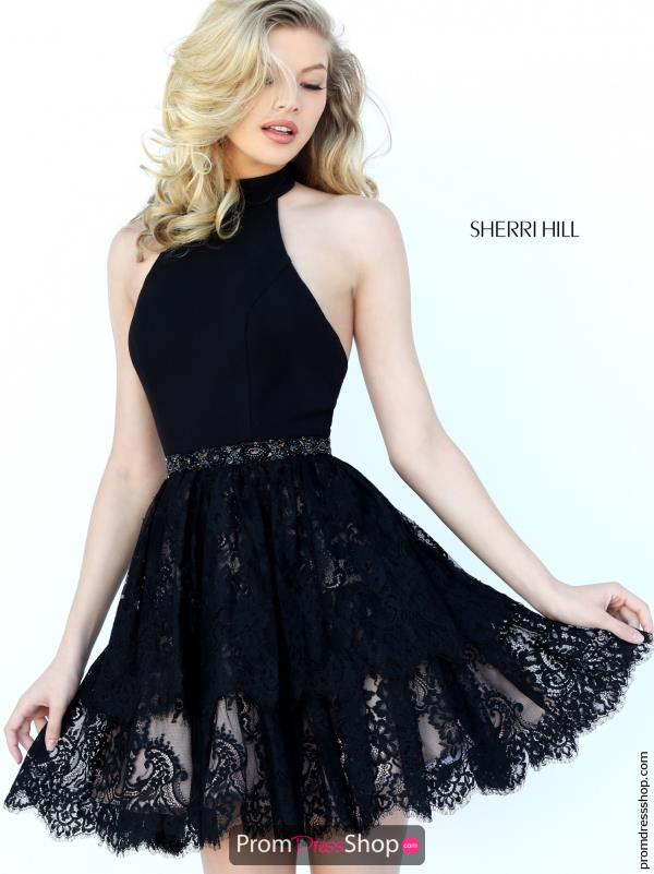 Lace A Line Sherri Hill Short Dress 50634