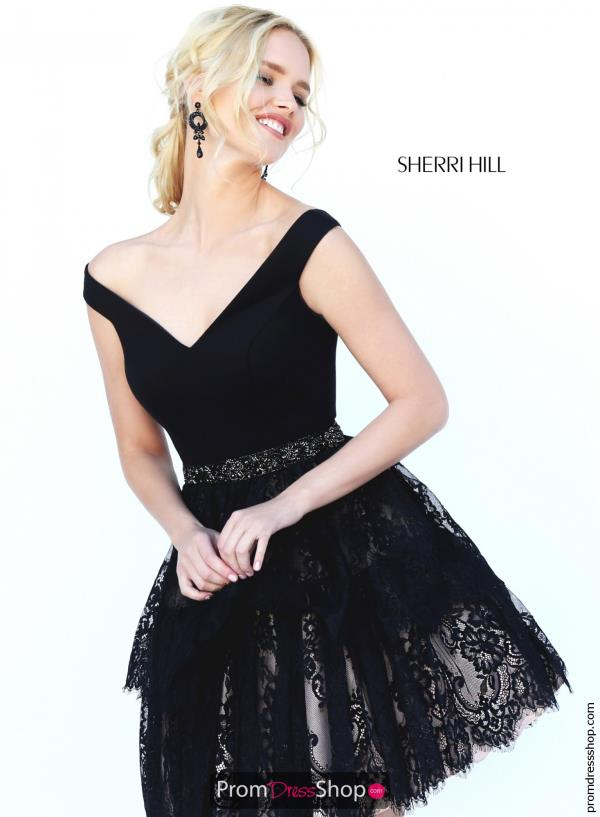 Sherri Hill Short Cap Sleeved A Line Dress 50635