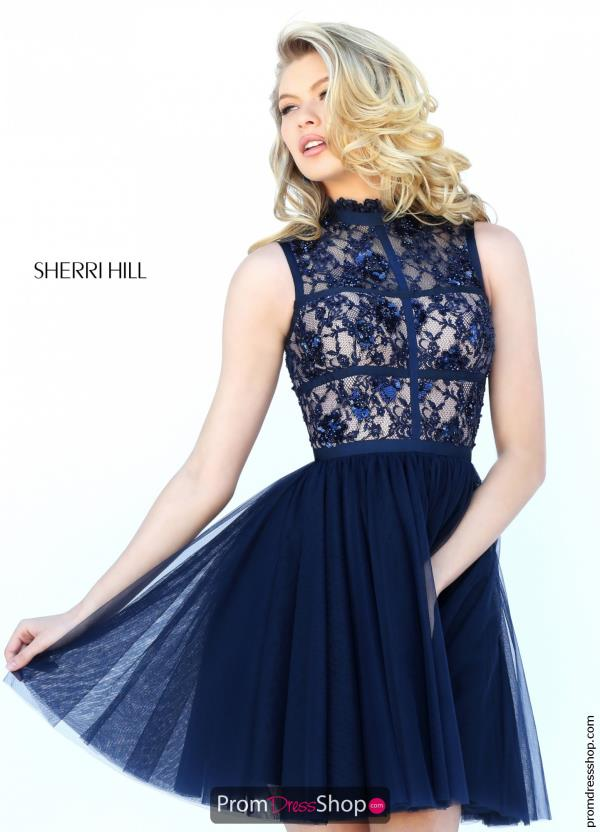 Sherri Hill Short Lace A Line Dress 50636
