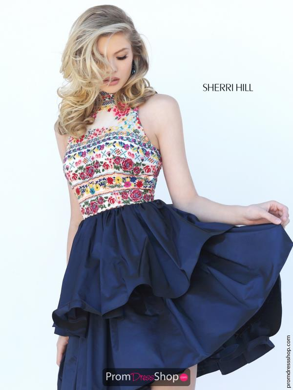 Sherri Hill Short Beaded High Neckline Dress 50638