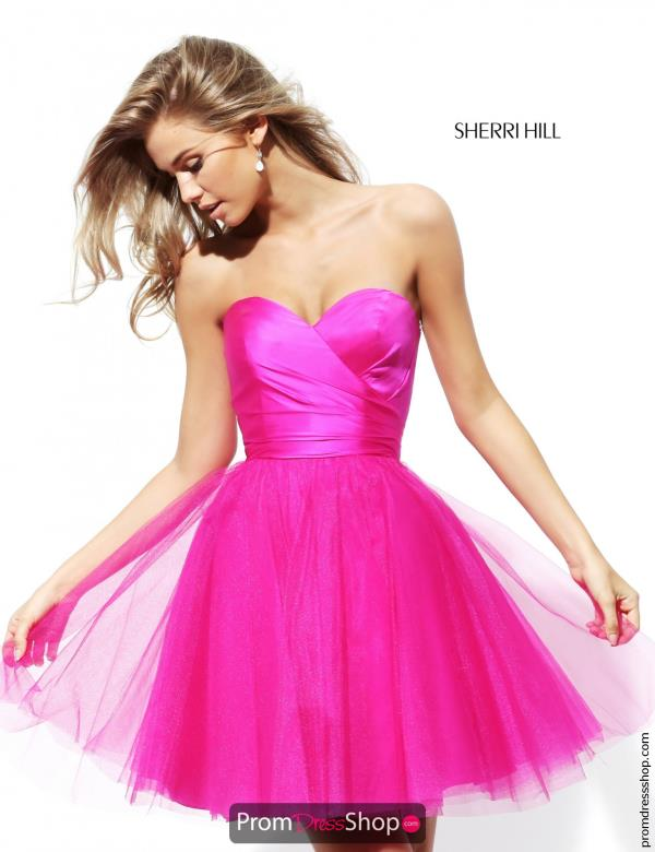 Sherri Hill Short Strapless A Line Dress 50657