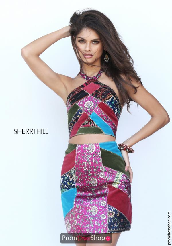 Sherri Hill Short Halter Top Two Piece Dress 50664