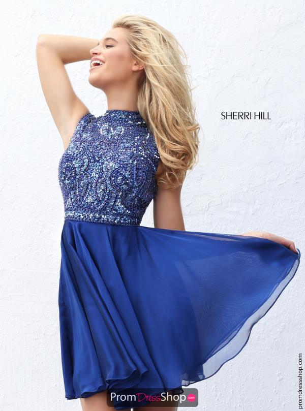 Sherri Hill Short A Line Chiffon Dress 50695