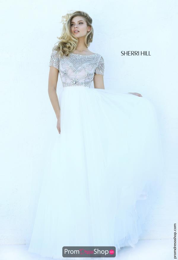 Cap Sleeved Beaded Sherri Hill Dress 50710