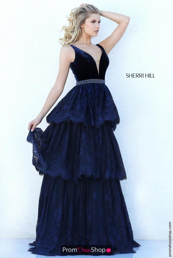 Sherri Hill Long V- Neckline Dress 50771