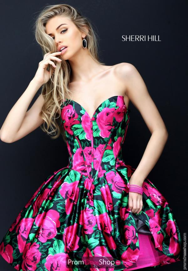 Strapless A Line Sherri Hill Short Dress 50579