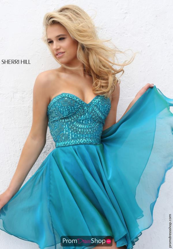 Sherri Hill Short Chiffon A Line Dress 50691