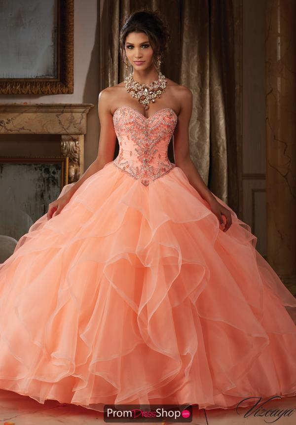Vizcaya Quinceanera Lace Back Beaded Gown 89115