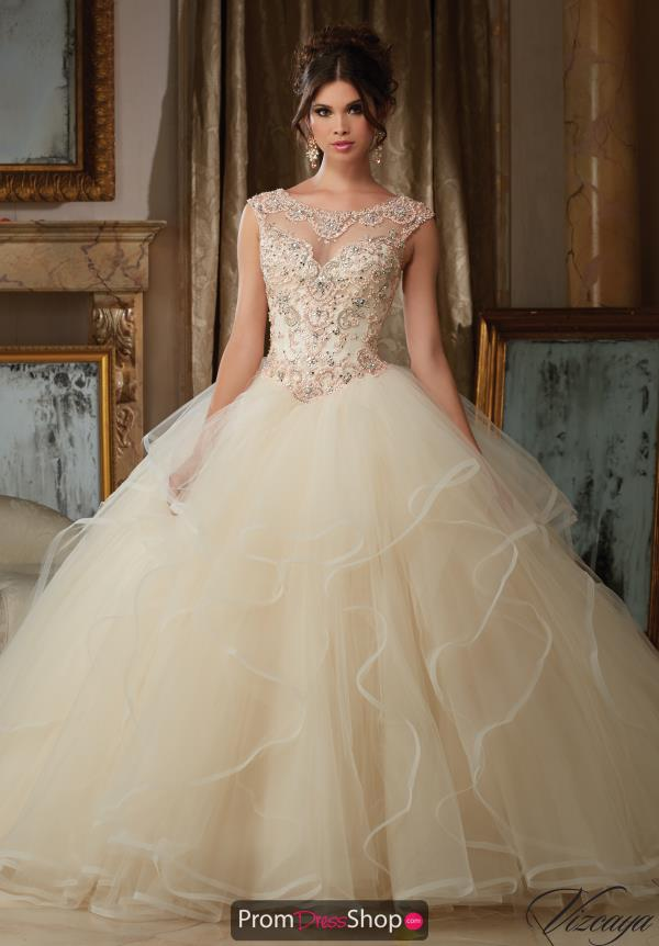 High Neckline Beaded Vizcaya Quinceanera Dress 89116