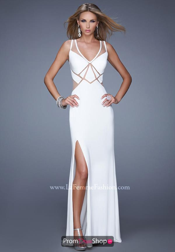 La Femme Jersey Open Back Prom Dress 21140