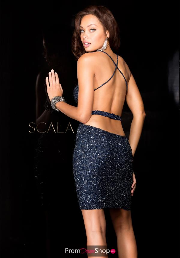 Sexy Fitted Beaded Short Scala Dress 48544