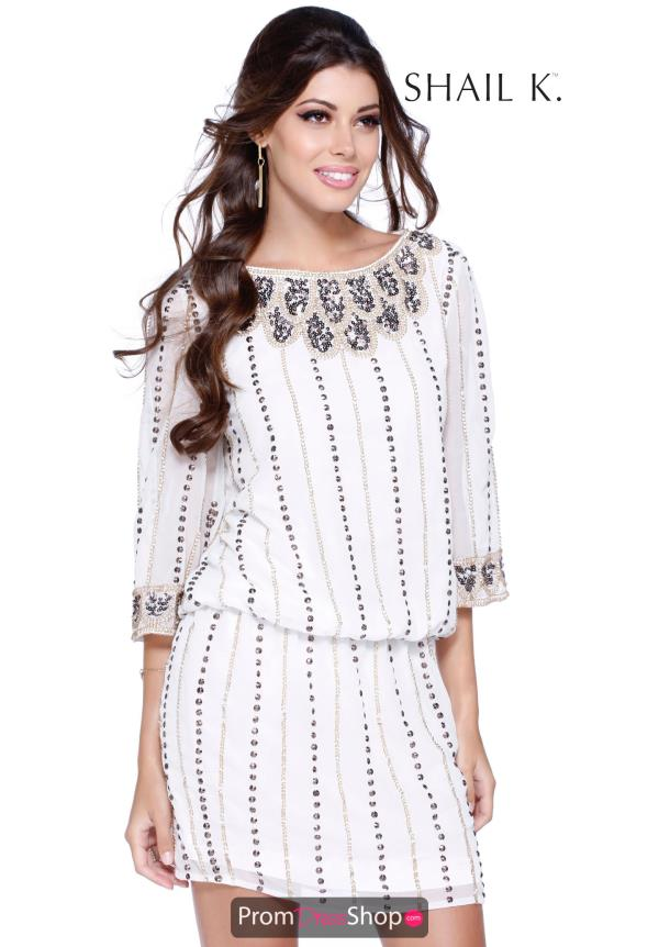 Shail K High Neckline Beaded Dress 1093