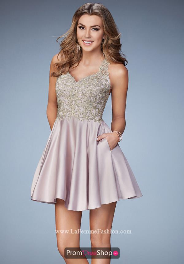 La Femme Short Satin Dress 23393