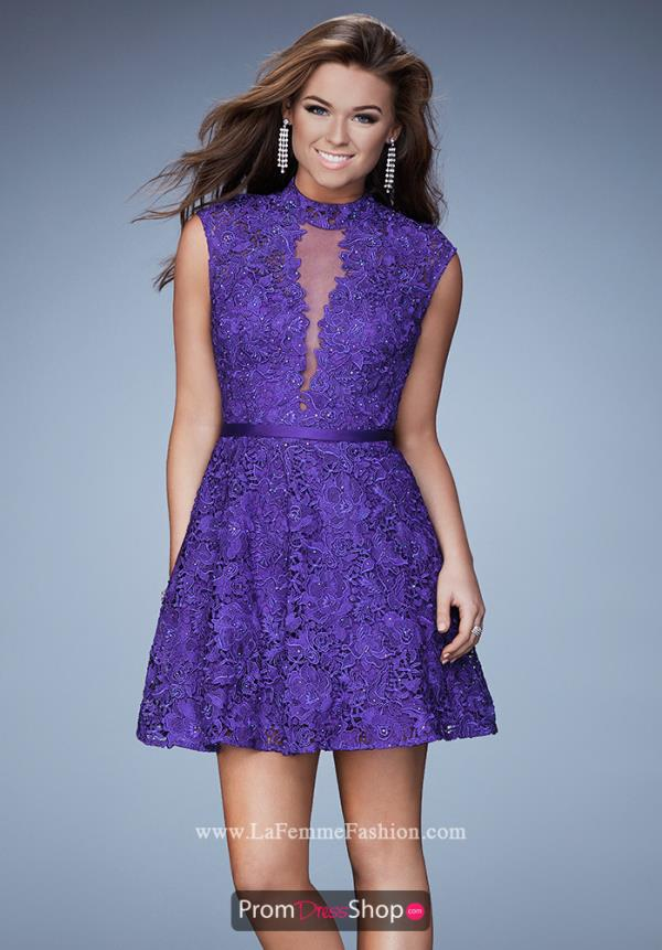 La Femme Short Lace A Line Dress 23409