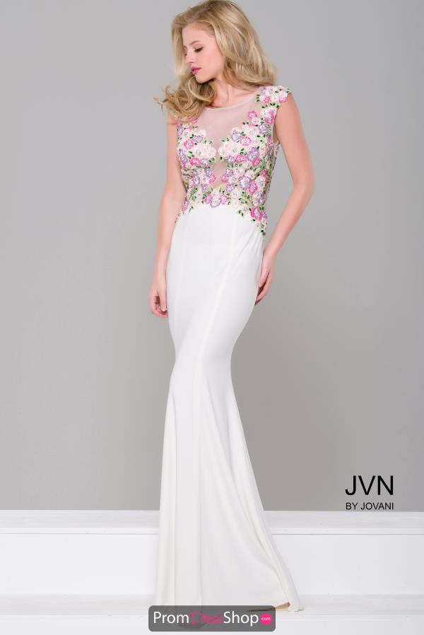 JVN by Jovani White Fitted Dress JVN41547