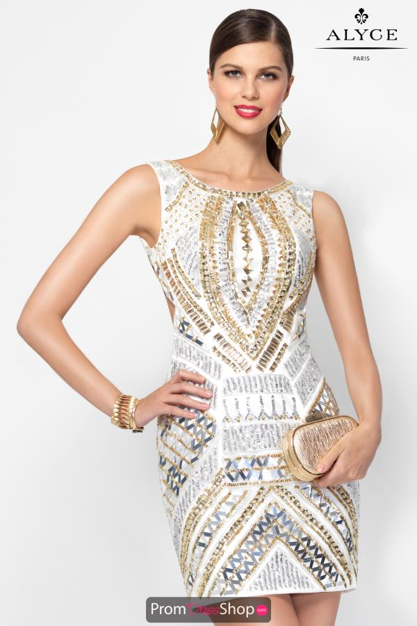 Alyce Short High Neckline Beaded Dress 2568