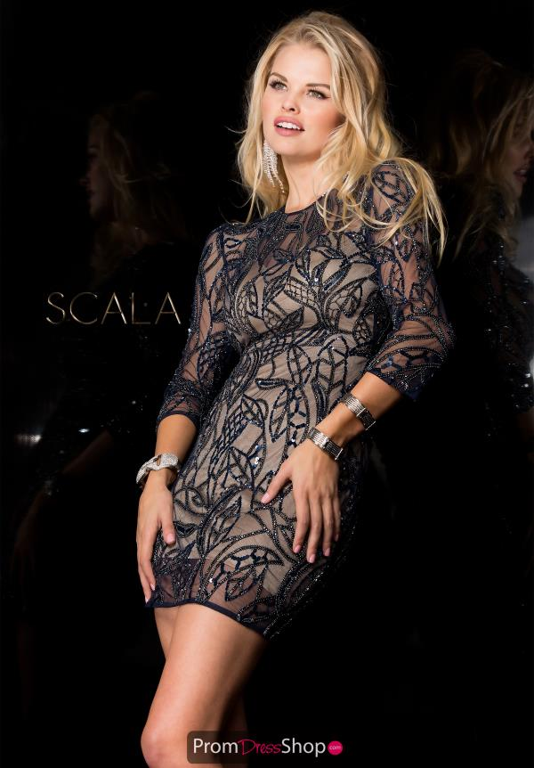 Sleeved Sequins Scala Dress 48607