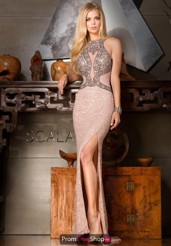 Scala Beaded High Neckline Dress 48625