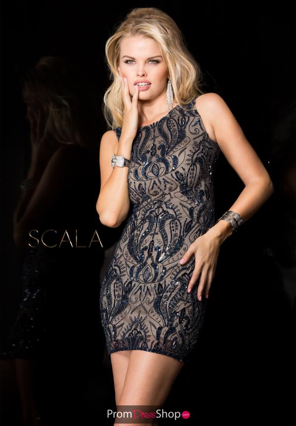 Scala Beaded High Neckline Dress 48652