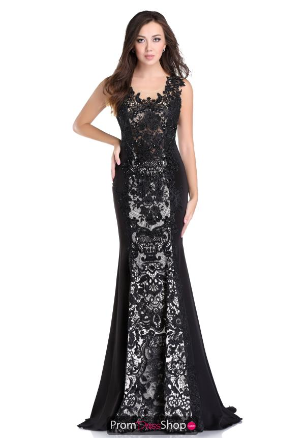 Romance Couture Long Navy Lace Dress RD1625