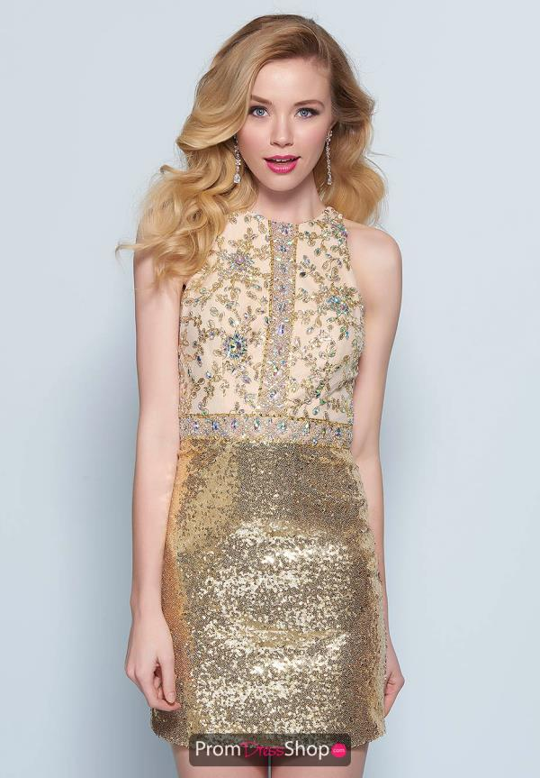 Splash Gold Fitted Dress E677