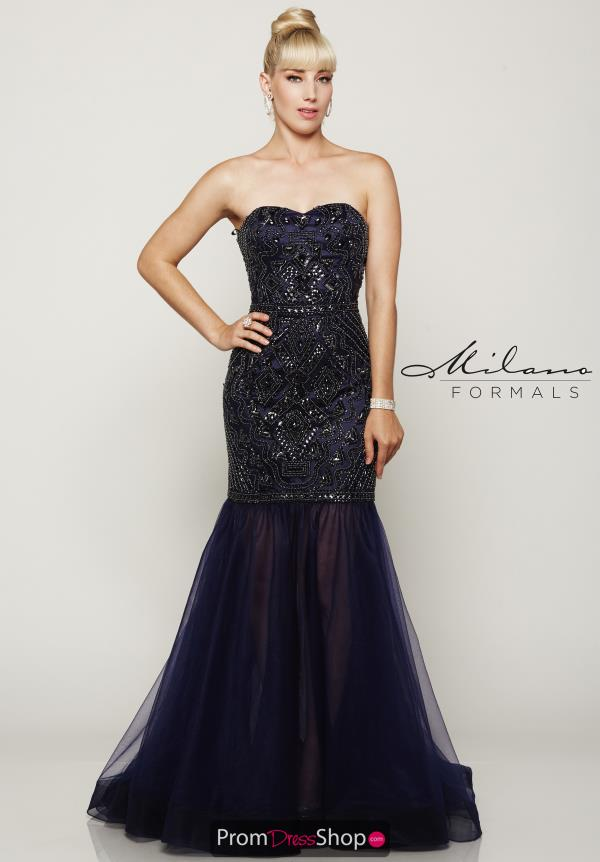 Milano Formals Blue Beaded Dress E2022