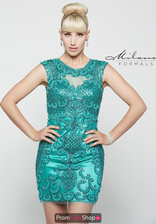 High Neckline Short Milano Formals Dress E2023