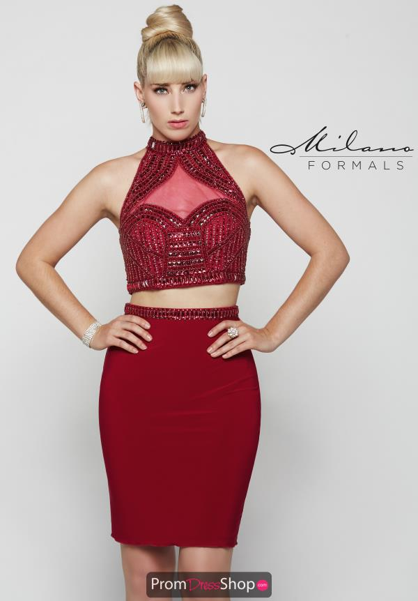 Milano Formals Beaded High Neckline Dress E2034