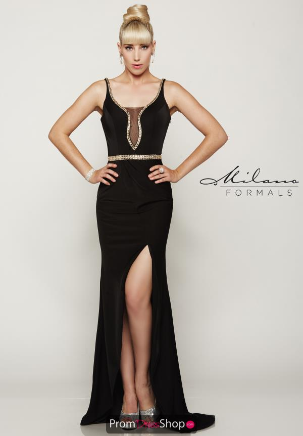 Milano Formals Long Black Dress E2045