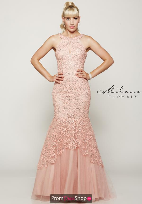 High Neckline Beaded Milano Formals Dress E2070