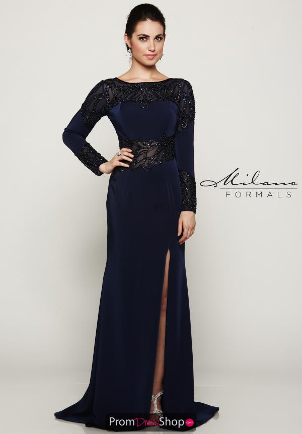 High Neckline Fitted Milano Formals Dress E2074