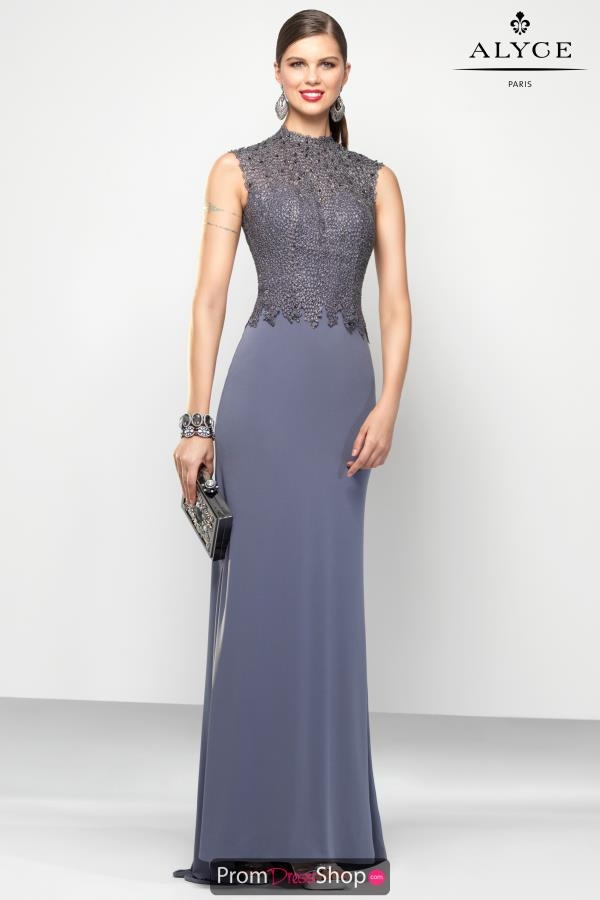 Beaded High Neckline Alyce Paris Dress 5797