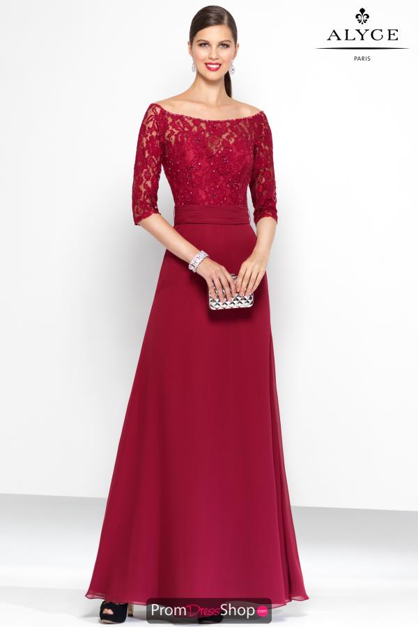 Alyce Paris Long Sleeved Lace Dress 5807