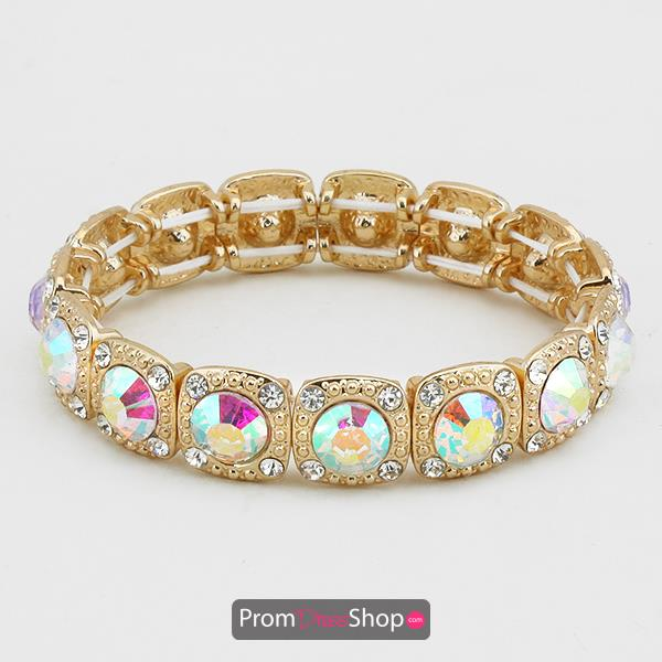 Stretchable Bracelet in Gold and Iridescent
