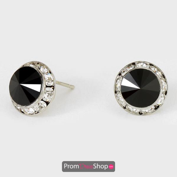 Black Rhinestone Stud Earrings style CRE1139