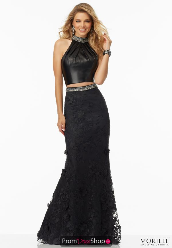 Mori Lee Halter Top Black Dress 99010A