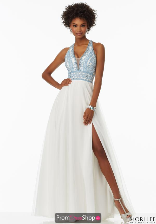 Mori Lee Halter Top Long Dress 99028