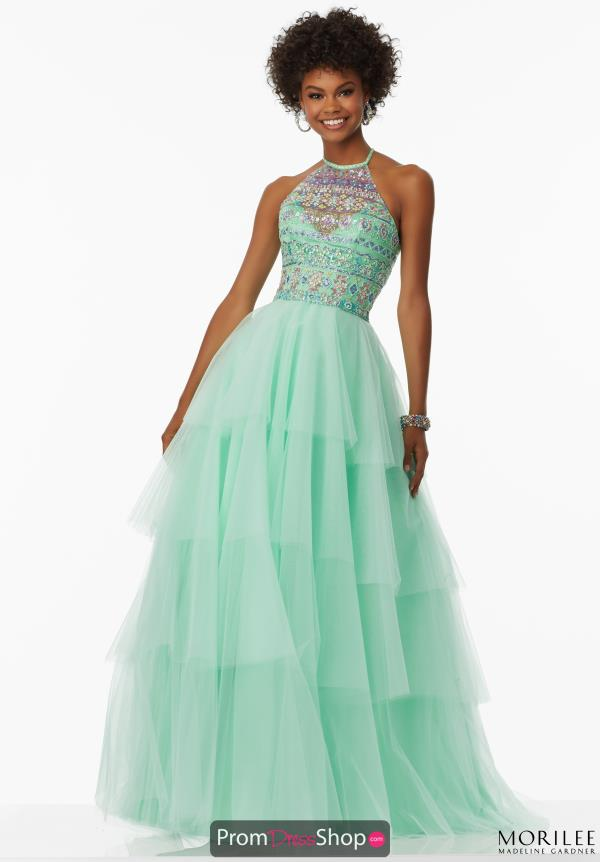 Mori Lee Tulle Skirt A Line Dress 99036