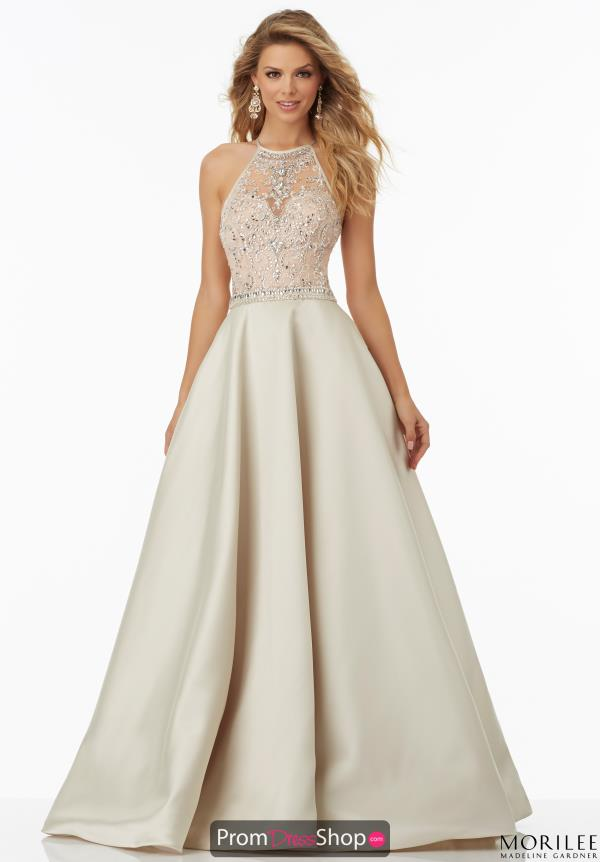 Beaded Halter Top Mori Lee Dress 99062