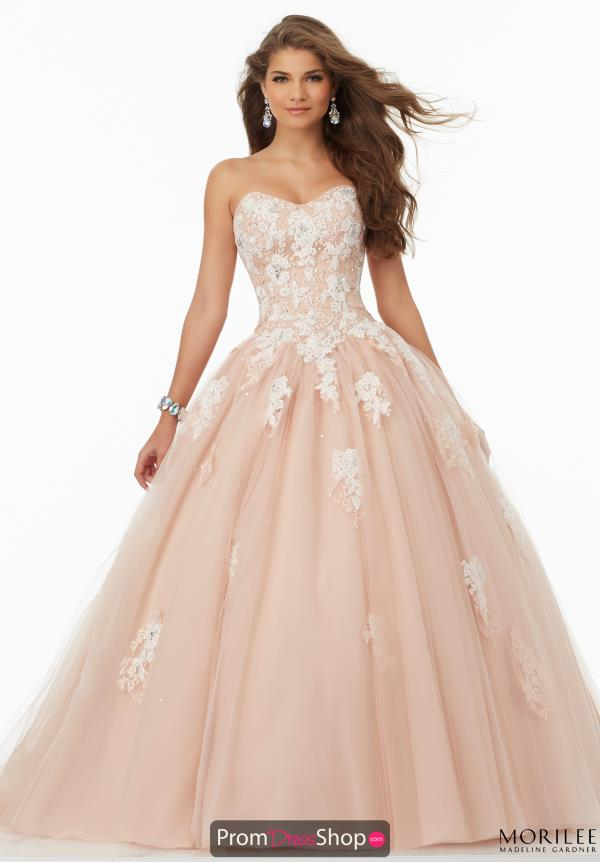 Mori Lee Lace Tulle Skirt Dress 99064