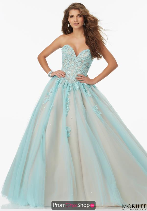 MoriLee Lace Aqua Ball Gown 99114