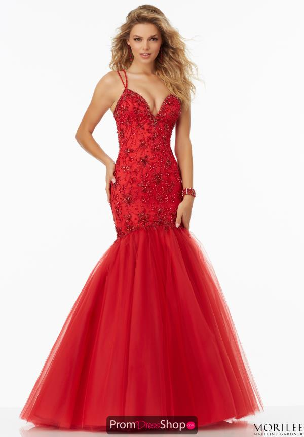 Long Red Fitted Mori Lee Dress 99143